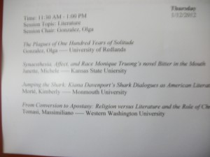 I presented my working thesis at the 2012 Hawaiian International Conference on Arts and Humanities