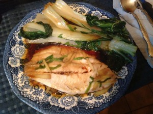 Chinese Steamed Fish with Bok Choy